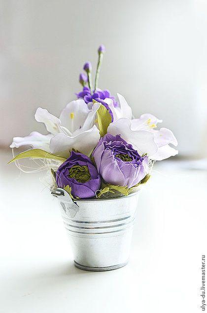 Цветочная композиция - бледно-сиреневый,цветочная композиция,цветы,интерьерная композиция
