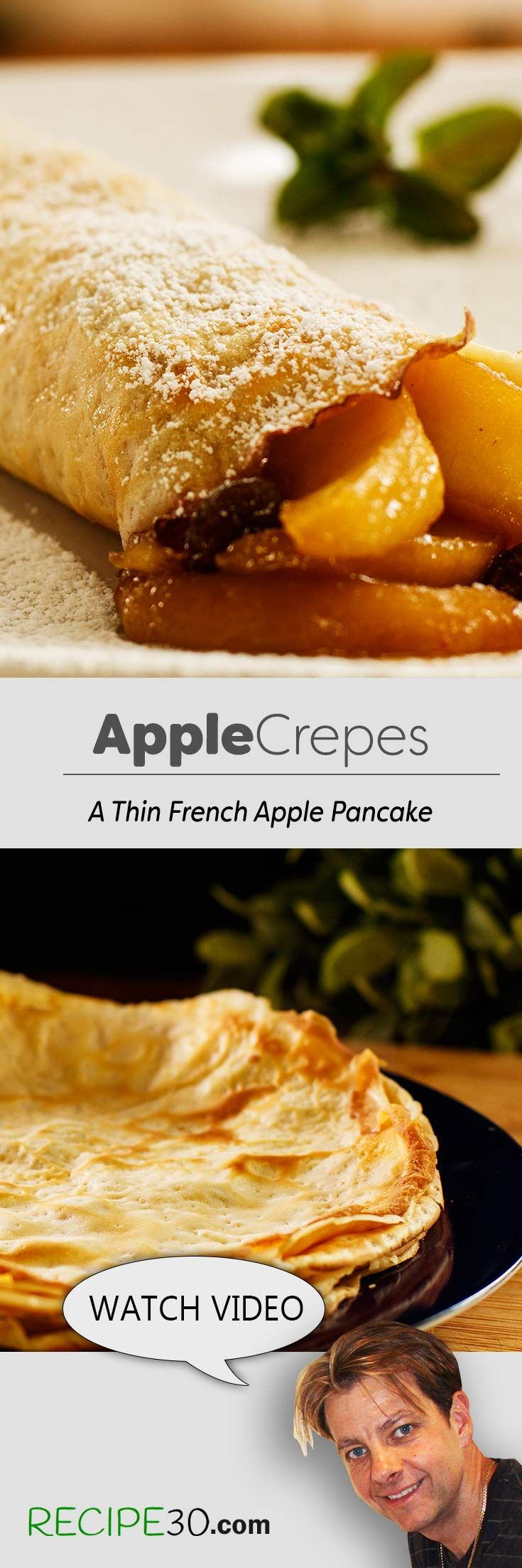 This French apple crepe or thin pancake recipe is similar to crepes Normandes. Apples are cooked in a butter caramel sauce, with raisins and cinnamon and filled inside a rolled thin crepe. Enjoy the recipe and see the streets of Paris.