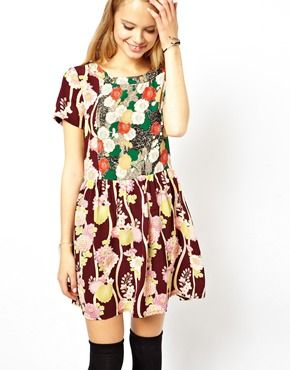 Image 1 of ASOS Skater Dress With Floral Patchwork