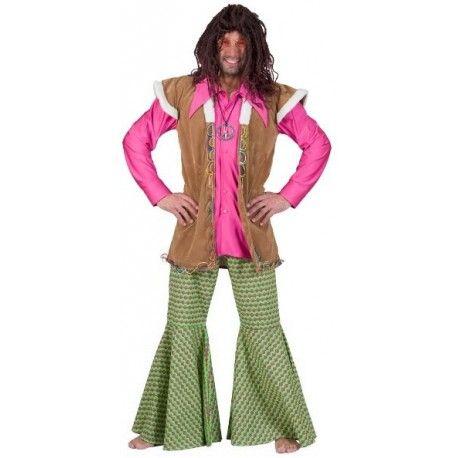 Déguisement pantalon hippie homme à pattes d'éléphant, ce déguisement pantalon hippie homme est vert aux motifs psychadéliques fuchsia Années 70's http://www.baiskadreams.com/1176-deguisement-pantalon-hippie-psychadelique-homme.html