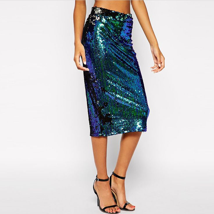 A beautiful peacock #sequin #skirt is what your closet needs. A colored, shimmering and fabulous skirt.