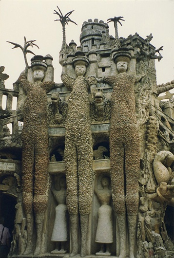 "Ferdinand Cheval (born 1836 in Charmes-sur-l'Herbasse, Drôme, France; died 19 August 1924) was a French postman who spent thirty-three years of his life building Le Palais idéal (the ""Ideal Palace"") in Hauterives. The Palace is regarded as an extraordinary example of naïve art architecture."