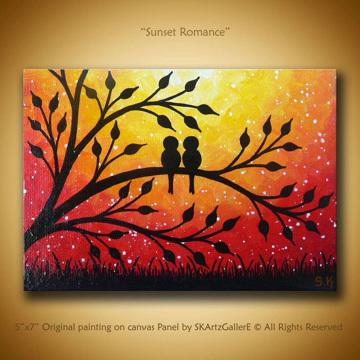 Coucher de soleil art oeuvre Original Mini peinture contemporaine de peinture amour oiseaux oiseaux sur arbre Art Mini Canvas Art Love petit Art Don par SKArtzGallerE sur Etsy https://www.etsy.com/fr/listing/255845423/coucher-de-soleil-art-oeuvre-original