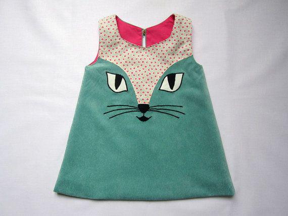 Cat Dress in Turquoise Sans le chat mais avec le même jeu de tissu