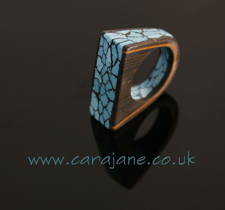 https://flic.kr/p/xJAVN1 | Cara Jane Polymer Clay Faux Mahogany and Spiderweb Turquoise Ring