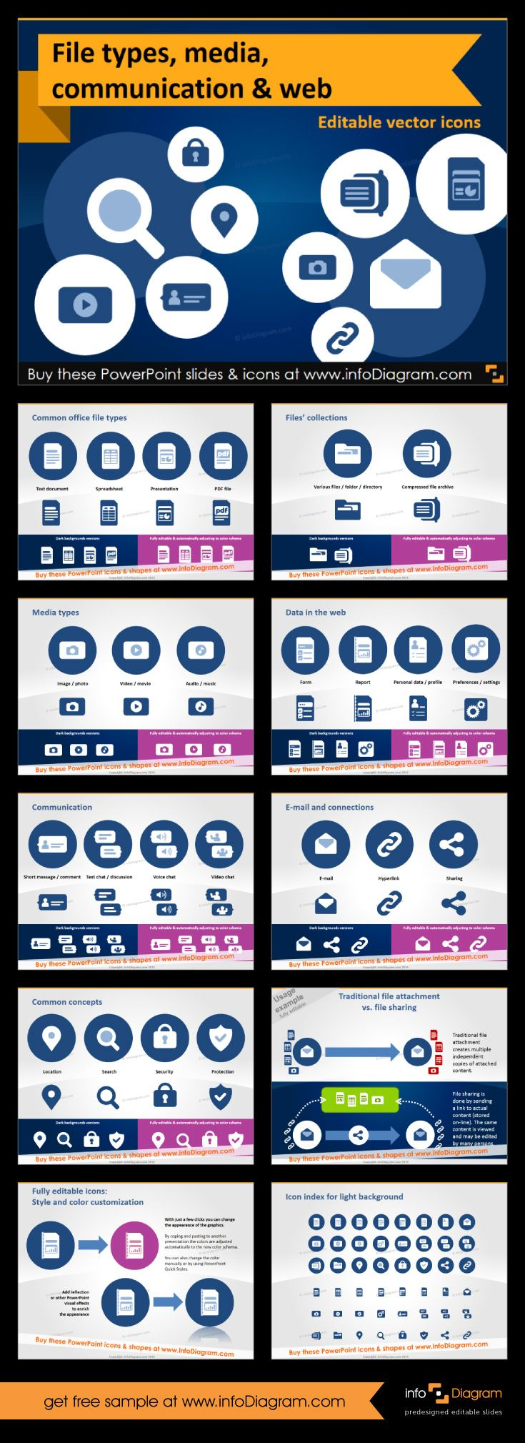 Editable elements for #PowerPoint to create #presenations with file types of different types: documents, audio, video and pictures. Extra icons to visualise email, connectivity, cloud, web links and more. #Flat style. #template #cliparts