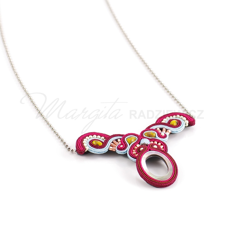 Sweet Soutache Pendant by Margita, hand embroidered jewelry.