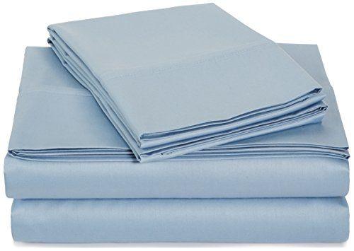 AmazonBasics 400 Thread Count Sheet Set - King Smoke Blue