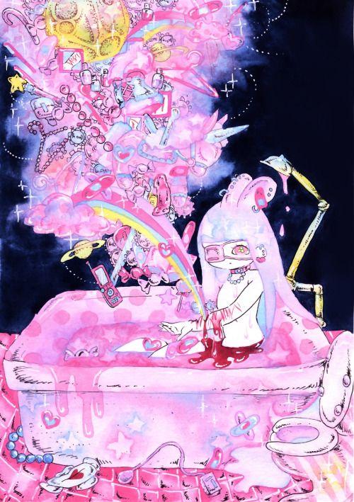 まどろみ 物子さん主催の自称×自傷行為と言うイラスト本に描かせて頂いた絵。