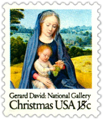 "The other Christmas stamp issued in 1979 features a detail from ""The Rest on the Flight into Egypt,"" an early 16th-century painting by Flemish artist Gerard David. The original painting is currently on view at the National Gallery of Art in Washington, D.C."