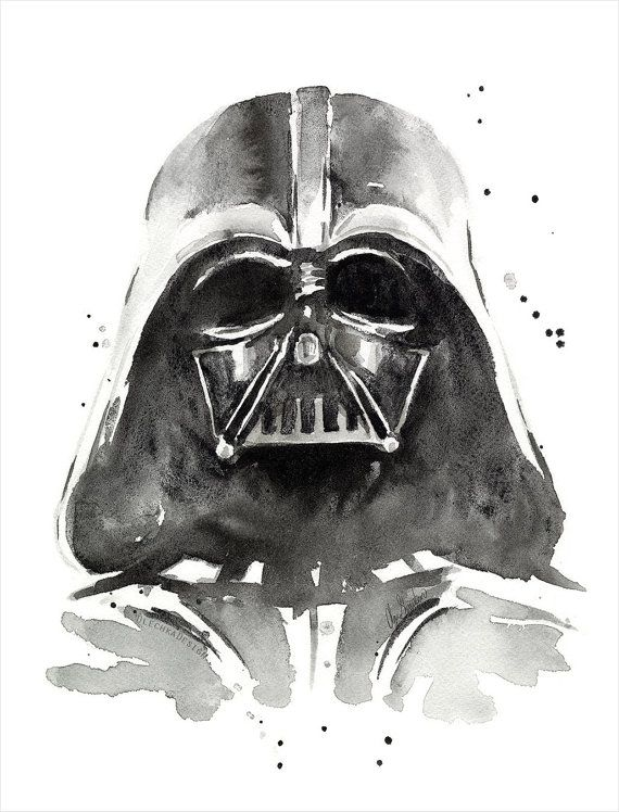 Vader Watercolor Art Print The Dark Side of by OlechkaDesign