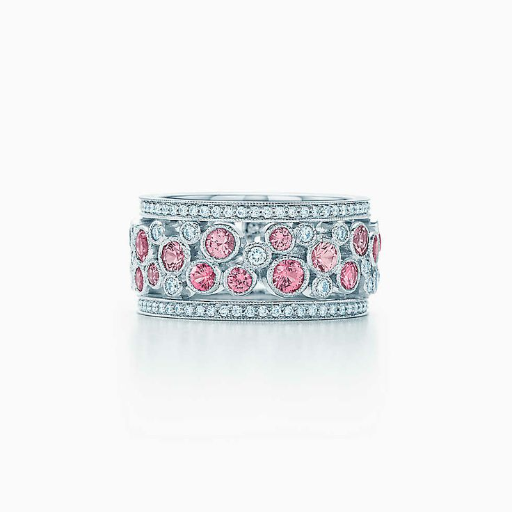 Tiffany Cobblestone wide band ring in platinum with pink ...