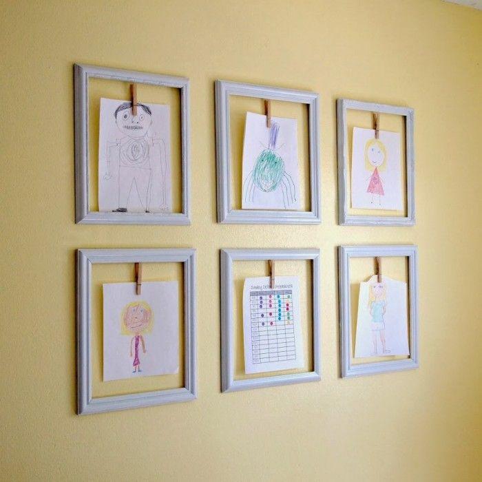 creative ways to display your childrens artwork kids rooms pinterest artworks creative. Black Bedroom Furniture Sets. Home Design Ideas