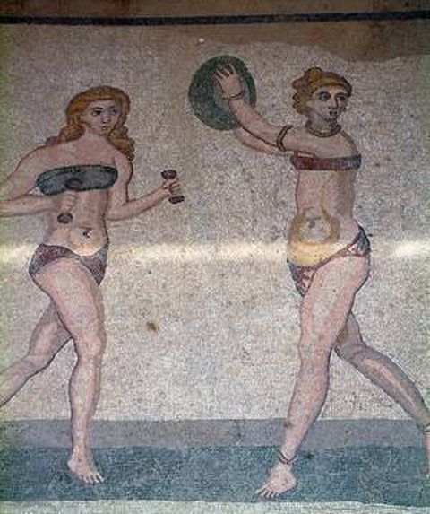 The history of lingerie. Greco-Roman women wore underwear made of linen or leather. The sub-ligature or subligaculum, a kind of panties, and the subucula, an interior tunic similar to a cotton or wool t-shirt also used as a nightgown, have reached to this day through mosaics, frescoes and statues of antiquity. The bikini mosaic from Villa Romana del Casale in Sicily, 4th century AD. As the Ancient Greeks believes that the red colour or red underwear tape (obereg) protect the boby and the…