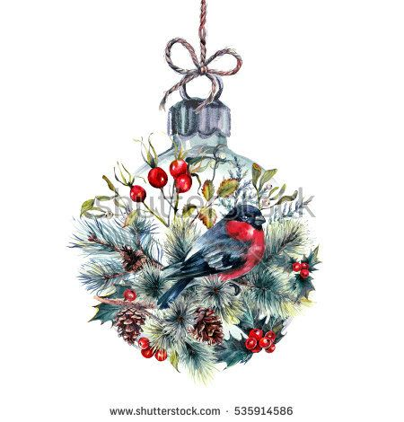Watercolor Christmas Glass Ball Made of Made of Coniferous Branches, Pine Cones, Hawthorn, Holly Berry and Mistletoe, Bullfinches on Jute Rope. Holiday Decoration Print Design Template. Vintage Style.