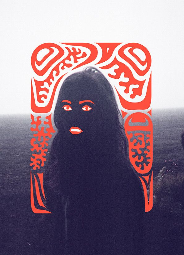 Siggi Odds: Illustration on a photograph taken on a foggy night on a black beach.