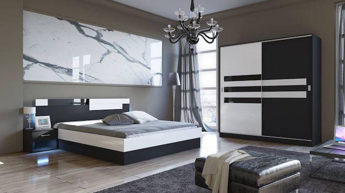 Set Dormitor Modern, Alb si Negru, LED-uri