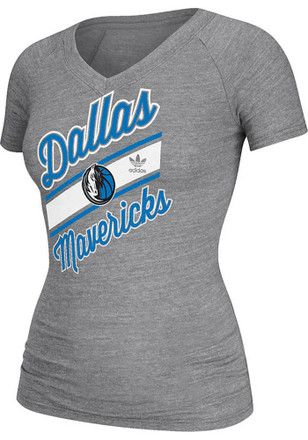 Adidas Dallas Mavericks Womens Grey Baseline V-Neck