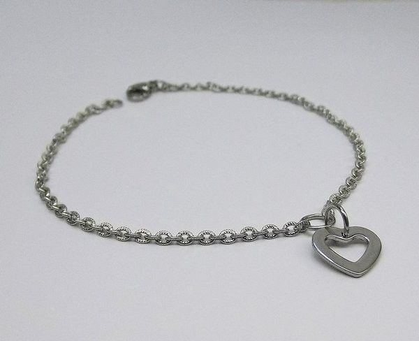 Stainless Steel Chain Bracelet with Heart