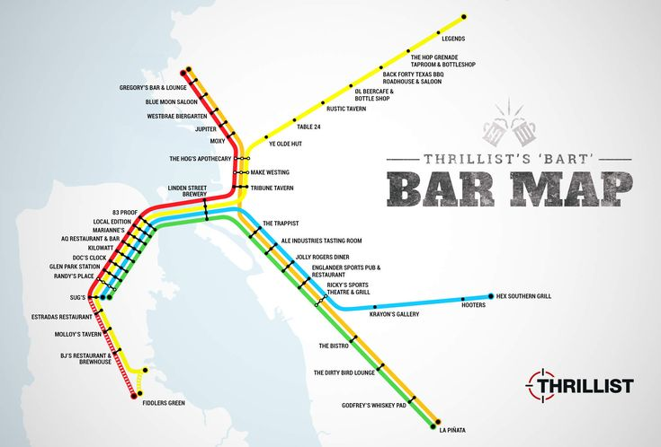 Commuting via BART is the WORST. So worst in fact, that you're almost always gonna want a drink, like, the second you get off your train. That's why we put together this map of the best bar within a 15-minute-or-less walk of each and every BART stop (that actually has a bar near it).  http://www.thrillist.com/drink/san-francisco/best-bars-near-every-bart-stop-sf-oakland-bay-area