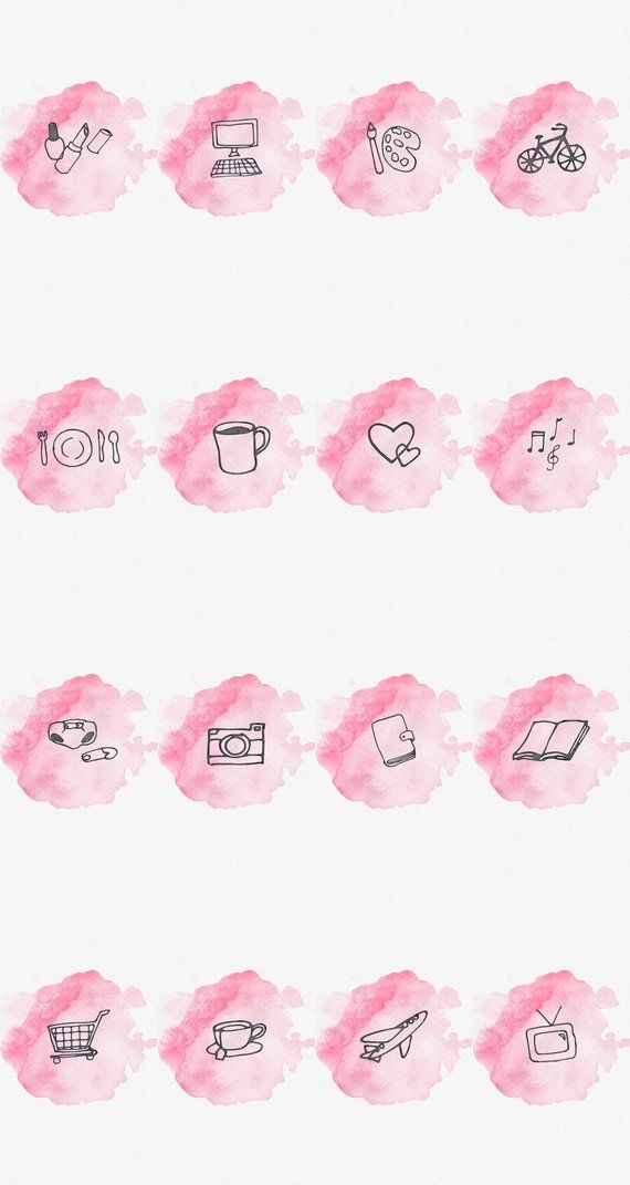 Instagram Story Highlight Cover Set Of 16 Pink Watercolor Bookstagram Lifestyle Bloggers Nabor Znachkov Fony Besplatno Instagram