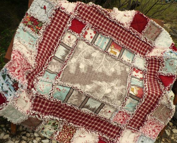 98 best Large Quilts images on Pinterest | Sofa, 2 on and Cozy : christmas rag quilt patterns - Adamdwight.com