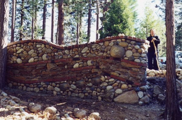 Concrete Walls With River Rock Adding Weep Holes To