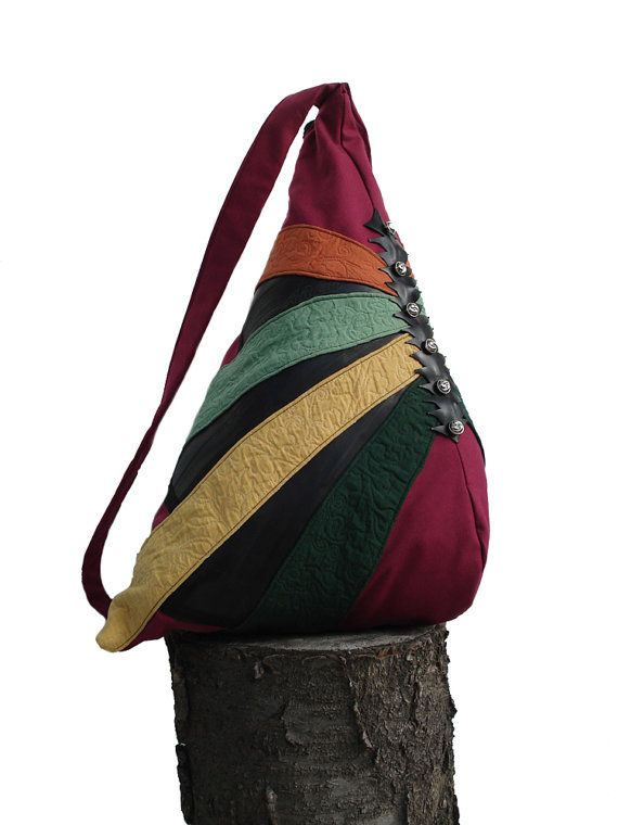 colorful and natural backpack, with buttons and inner bike tube- by strofe di stoffa on Etsy