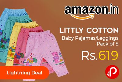 Amazon #LightningDeal is offering 44% off on Littly Cotton Baby #Pajamas #Leggings Pack of 5 at Rs.619 Only. 100% cotton fabric, Soft and comfortable, Good quality Elastic, Attractive colors and designs.  http://www.paisebachaoindia.com/littly-cotton-baby-pajamasleggings-pack-of-5-at-rs-619-only-amazon/
