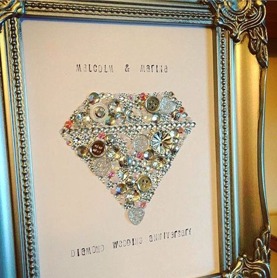 Anniversary Gift Wall Art Decoration Wedding Anniversary Diamond Wedding Ruby Wedding Button Art Swarovski Frame Personalised Gift Wedding