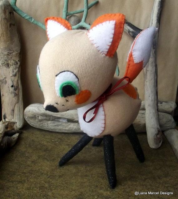 Vintage inspired cuddly fox Puki cute woodland by LianaMarcel, $30.00