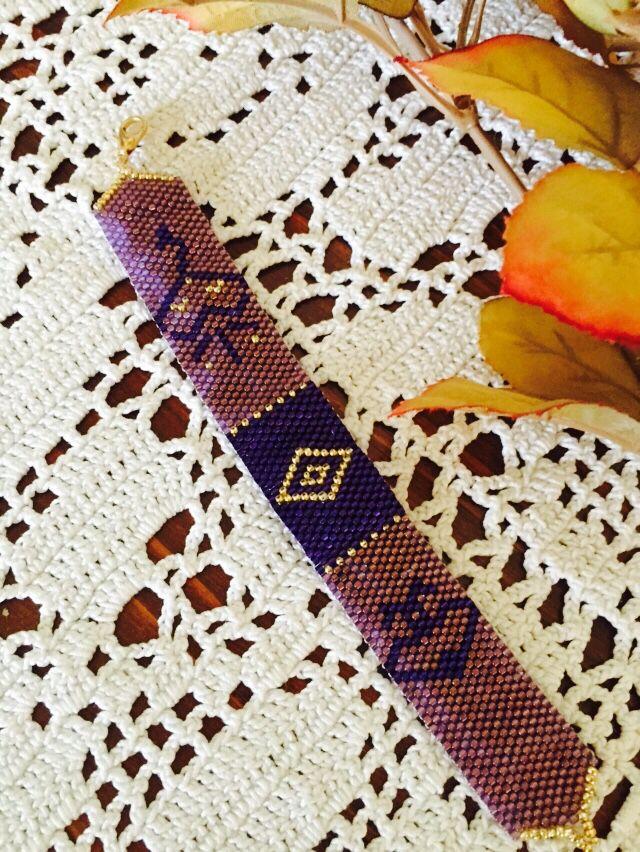 Bracelet trio violet et doré en perles miyuki