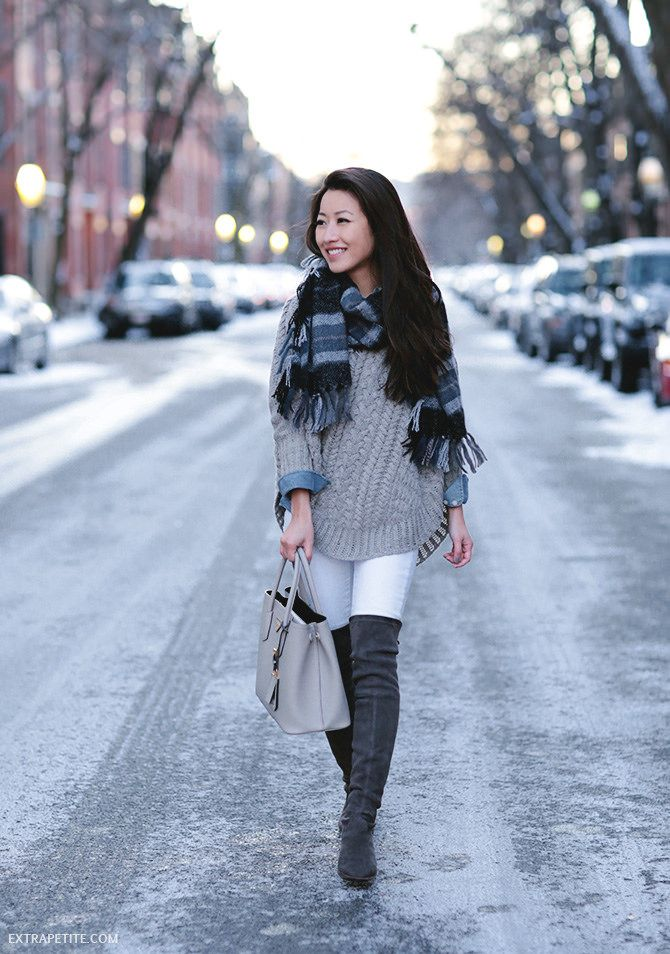 navy + gray winter outfit // cable poncho sweater, suede boots, white jeans, plaid scarf