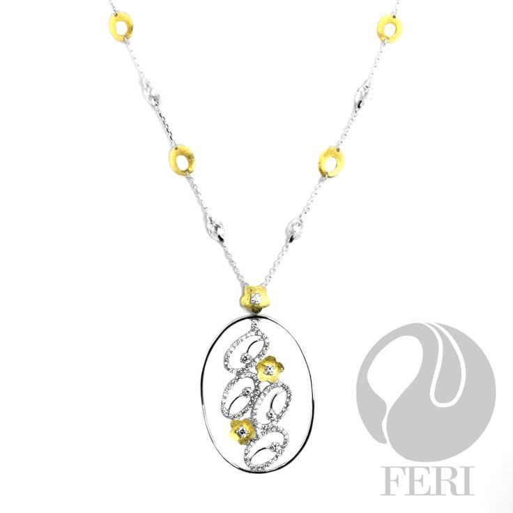 FERI Flower Links - Necklace #feri #necklace #sterlingsilver #rhodium #women #fashion #jewellery
