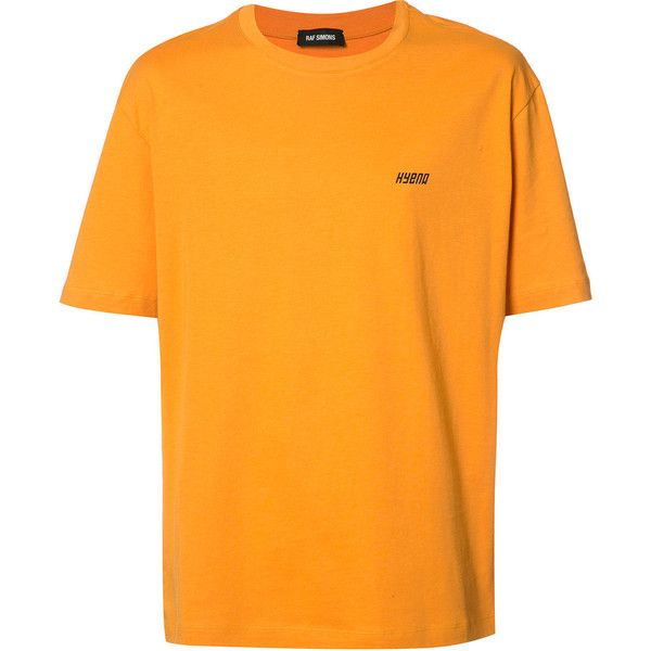 Raf Simons logo print T-shirt ($340) ❤ liked on Polyvore featuring men's fashion, men's clothing, men's shirts, men's t-shirts, orange, mens cotton t shirts, mens orange t shirt, mens cotton shirts and mens orange shirt