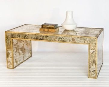 Worlds Away Reverse Mirror Coffee Table Gold Leaf   Eclectic   Coffee Tables    Candelabra