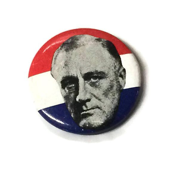Franklin Delano Roosevelt Pinback Button FDR President 1976 Bicentennial Political Pin Reproduction by ThriftyTheresa