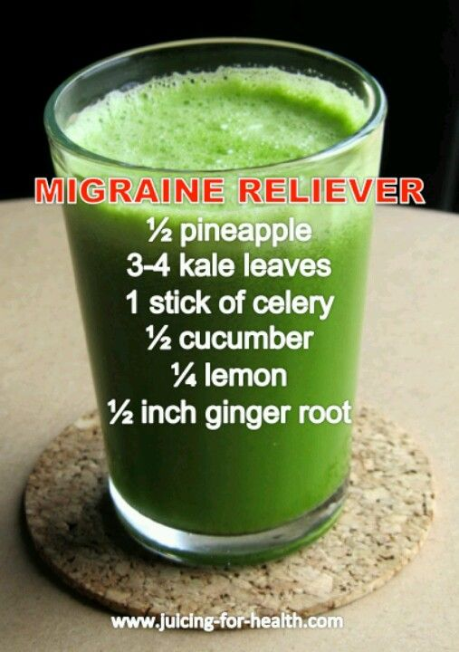 Migraine relief smoothie.  I'm going to get the ingredients very soon.  Have migraines way too often.
