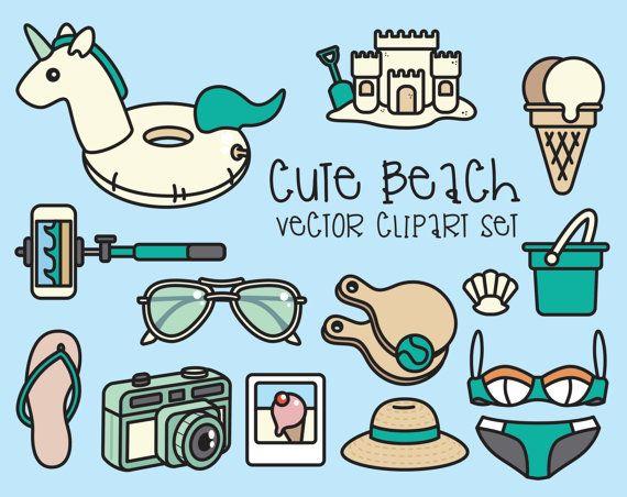 Haut de gamme Vector Clipart - Clipart plage mignon - journée à la plage de Kawaii Clip Art Set - vecteurs de haute qualité - Téléchargement instantané - Kawaii Clipart