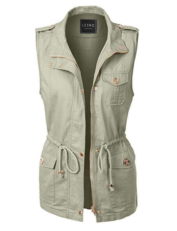 41cb570e1b44 LE3NO Womens Lightweight Sleeveless Military Anorak Vest at Amazon ...