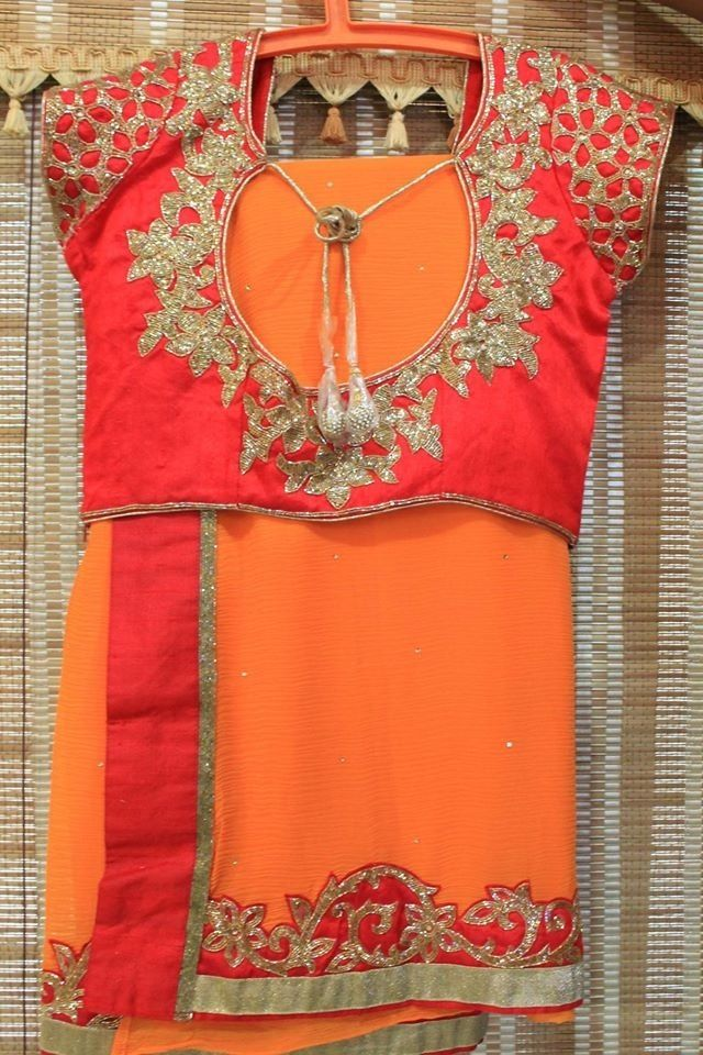 Orange and red Saree with embroidered blouse