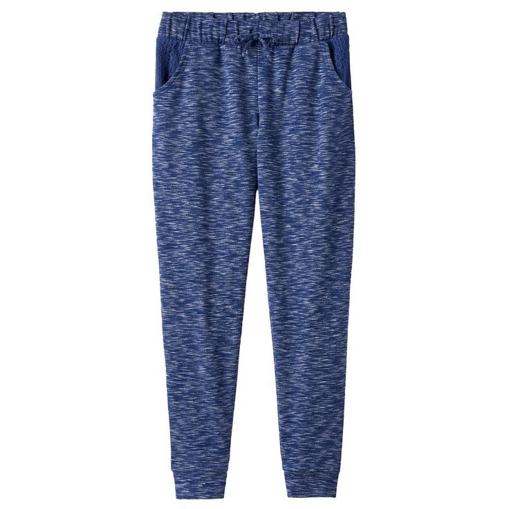 Girls Plus Size SO® Crochet Pocket Jogger Pants, Size: 16 1/2, Blue