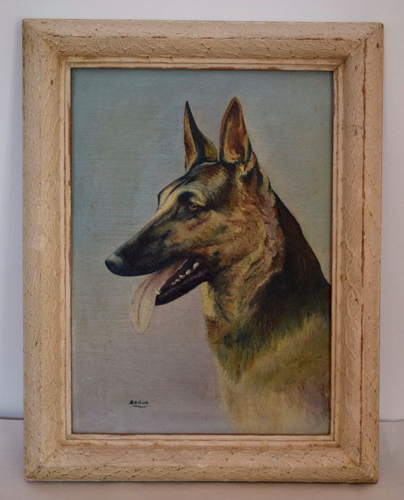 French Vintage Oil Painting on Panel - Dog Portrait German Shepherd - French Vintage Picture Signed Raoux - Shabby Chic Blue Painting