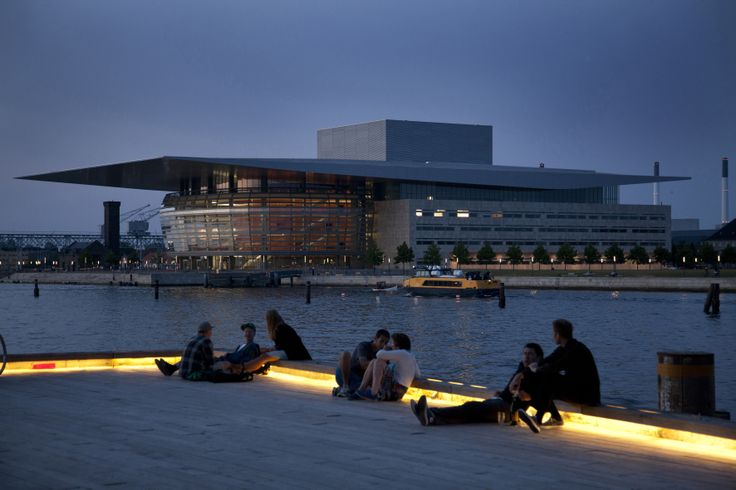 Evening atmosphere around the Opera in Copenhagen