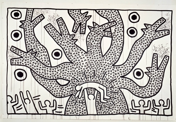 """Keith Haring At Brooklyn Museum: """"Untitled,"""" 1982, sumi ink on paper"""