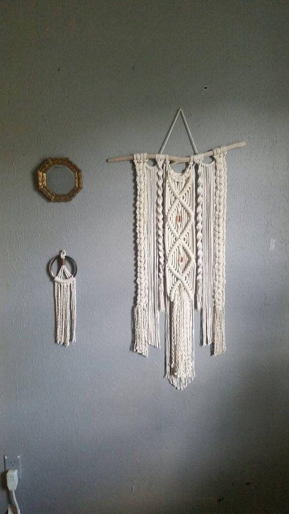 Natuurlijke katoen en koperen macrame muur opknoping - Boho wand decor