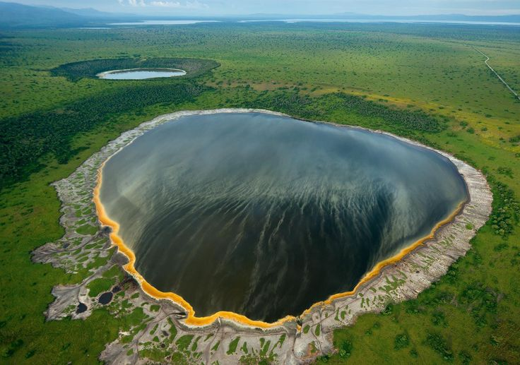 Crater lake view in Queen Elizabeth National Park, Uganda.