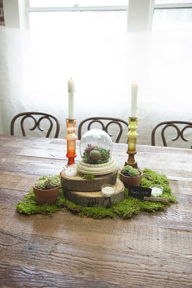 I like the multi-layer logs beneath the terrarium, with dried mosses around it. | rustic wedding centerpiece DIY