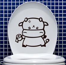 FD985 Cartoon Cow Toilet Stickers Funny Wall Home Decal Vinyl Stickers DIY ~1pc~(China (Mainland))