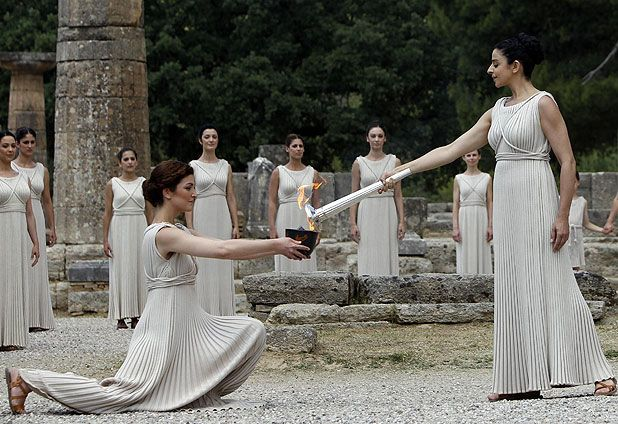 May 10th, 2012: Olympic flame was lighted in Olimpia, Greece to continue its trip to Great Britain.